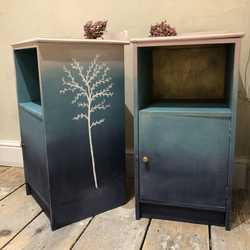 Pair of Blue Green Pink Gold Blended Hand Painted Vintage Bedside Tables / Cabinets