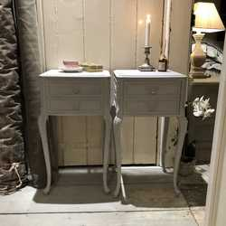 Pair of Grey Hand Painted Vintage French Rococo Style Bedside Tables / Side Tables