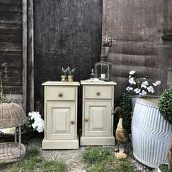 Pair of  Vintage Grey Hand Painted Pine Country Farmhouse Bedside Cupboards Tables