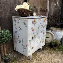 Pink Flowers & Buds Light Blue Hand Painted Vintage Retro Boho Style Chest of Drawers