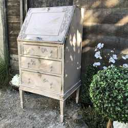Pink Hand Painted Flower Bird Crown Boho Style Vintage Bureau Chest of Drawers Desk