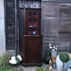 RESERVED Sweet Georgian Antique Mahogany Glazed Country Townhouse Corner Cabinet Cupboard