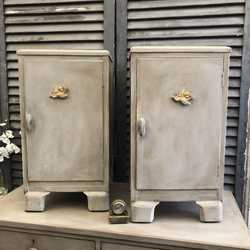Retro Grey Painted 1940s Vintage Pair of Bedside Cabinets With Gilded Cherubs