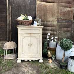 Romantic Country Chic Grey Painted Ornate Vintage Cabinet / Cupboard / Basin Base