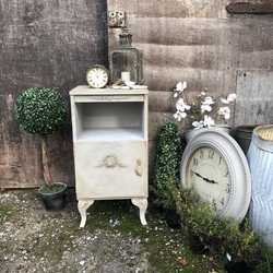 Romantic Grey Hand Painted Vintage Country Rococo Style Bedside Table / Side Cabinet