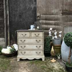 Romantic Little Grey Painted Vintage Country Chic Chest of Drawers / Bedside Table