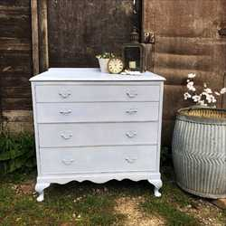 Romantic Pretty Light Blue Country Farmhouse Painted Vintage Chest of Drawers