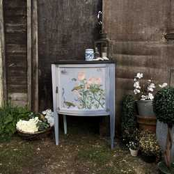 Rose Garden Birds Crown Painted Vintage Edwardian Cabinet / Cupboard / Basin Base
