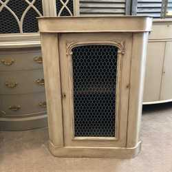 Rustic Antique Grey Painted Ornate Country Style French Side Cabinet & Chicken Wire Door