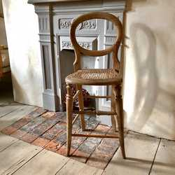 Rustic Charming Antique Vintage Country French Style Pine Small Chair Stool Patina Handmade