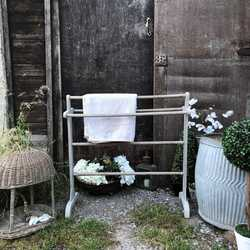 Rustic Country Farmhouse Antique Vintage Grey Hand Painted Freestanding Towel Rail