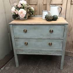 Rustic Duck Egg Blue Country Farmhouse Style Vintage Chest of Drawers Wash Stand