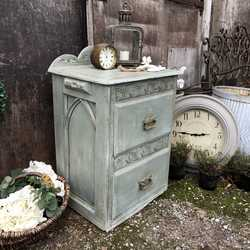 Rustic Duck Egg Blue Hand Painted Rustic Gothic Vintage Oak Bedside Table / Cabinet