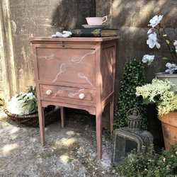 Rustic Pink Painted Vintage Country Bedside Table / Side Cabinet With White Flowers