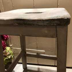 Rustic Vintage Grey Painted Country Farmhouse Kitchen Stool Occasional Stool Handmade