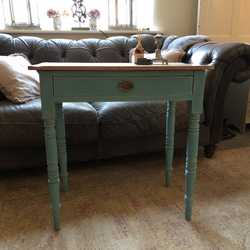 Rustic Vintage Turquoise Painted Country Farmhouse Pine Desk Console Side Table