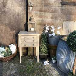 Small Grey Hand Painted Gustavian Country Style Vintage Bedside Table Pot Cupboard