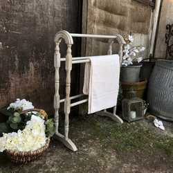 Smaller Grey Hand Painted Traditional Country Farmhouse Pine Freestanding Towel Rail