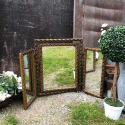 "Square 1920s Vintage Gilded Folding ""Trois"" Dressing Table Mirror ~ Freestanding"