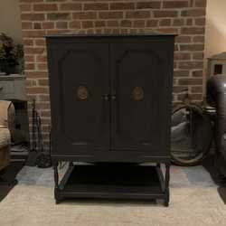 Stunning Baroque Style Black Hand Painted Edwardian Cabinet Cupboard Twisted Legs