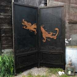 Stunning Black Vintage Ornate Dragon Oriental Asian Chinese Screen Bed Headboard