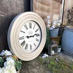 Stunning Large French Country Chic Style Grey Painted Thick Wooden Framed Wall Clock