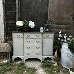 Swedish Gustavian Country Two Toned Grey Painted Sideboard Hall Cabinet Cupboard