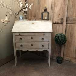 Swedish Gustavian Style Grey Hand Painted Vintage Bureau / Desk / Chest of Drawers