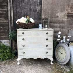 Sweet Country Chic Style Grey Hand Painted Vintage Bow Fronted Chest of Drawers