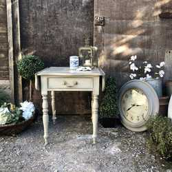 Sweet Grey Hand Painted Vintage Country Chic Folding Sides Bedside Table Coffee Table