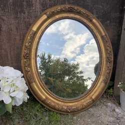 Sweet Little Romantic Country Chic Style Ornate Gilded Oval Flower Motif Wall Mirror