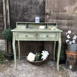 Touch of Gold Duck Egg Blue Hand Painted French Country Vintage Desk Dressing Table
