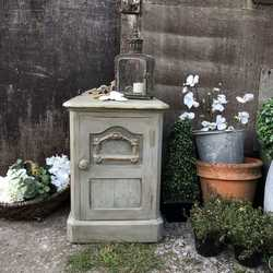 Touch of Gold Ornate Rustic Grey Painted Country Vintage Pine Bedside Cabinet Table