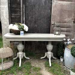 Tudor Country Farmhouse Style Grey Vintage Console / Fold Out Dining Table / Desk