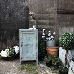 Turquoise Blue Boho Style Hand Painted Rustic Vintage Bedside Table Cabinet Cupboard