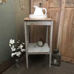 Very rustic Characterful Grey Patina Pine Square Vintage Wash Stand Basin Base & Shelf