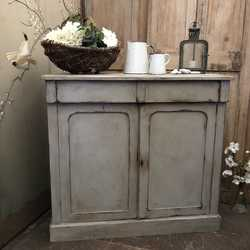 Victorian Grey Hand Painted Rustic Mahogany Country Farmhouse Sideboard Cabinet