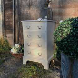 Vintage Country Chic Grey Painted With White Rims Bedside Table / Chest of Drawers