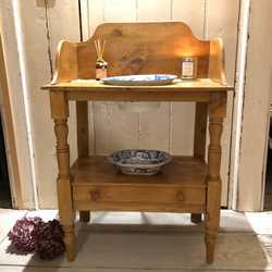 Vintage Country Farmhouse Pine Wash Stand Side Table Lots of Patina & Charm