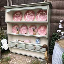 Vintage Duck Egg Blue / Cream Hand Painted Pine Country Farmhouse Wall Plate Rack