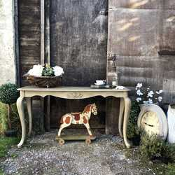 Vintage French Country Style Grey Hand Painted Console Table / Dressing Table / Desk