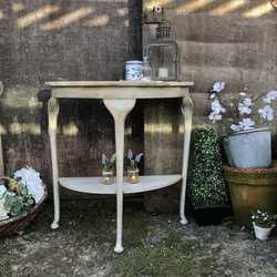Vintage Grey Hand Painted Country Chic D-Shape Side Table With Shelf & Romantic Rim