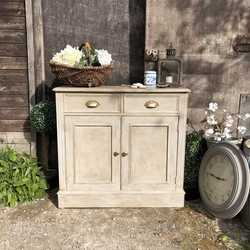 Vintage Grey Hand Painted Country Farmhouse Style Buffet Cabinet  Cupboard TV Stand