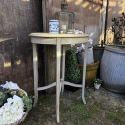 Vintage Grey Hand Painted Oval Gustavian Country Style Side Table With Touch Of Gold