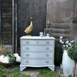 Vintage Gustavian Country Style Touch of Gold Grey Painted Serpentine Chest of Drawers