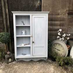 Vintage Light Blue Hand Painted Country Farmhouse Pine Wall Cabinet Cupboard Shelves
