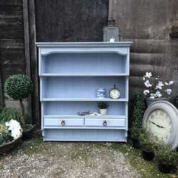 Vintage Light Blue Hand Painted Pine Country Farmhouse Wall Cabinet / Wall Plate Rack