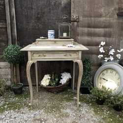Vintage Small French Country Style Grey Hand Painted Lady's Writing Desk / Side Table