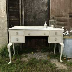 Vintage Vintage Grey Painted 5 Drawer Dressing Table Cabriole Legs Brass Handles