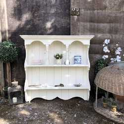 White Hand Painted Country Chic Farmhouse Brocante Style Vintage Pine Wall Shelf Unit